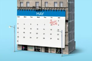 A calendar with 'due rent' marked on the 1st of May