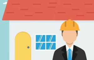 An animated picture of a contractor standing in front of a house