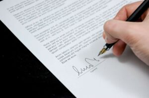 Lawyer preparing a contract